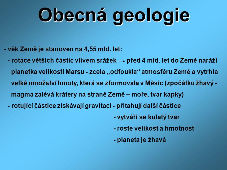 Obecná geologie - věk Země je stanoven na 4,55 mld. let: