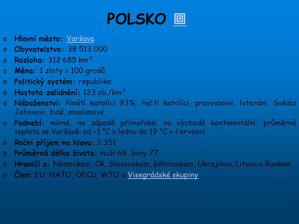 POLSKO  Hlavní město: Varšava Obyvatelstvo: 38 513 000