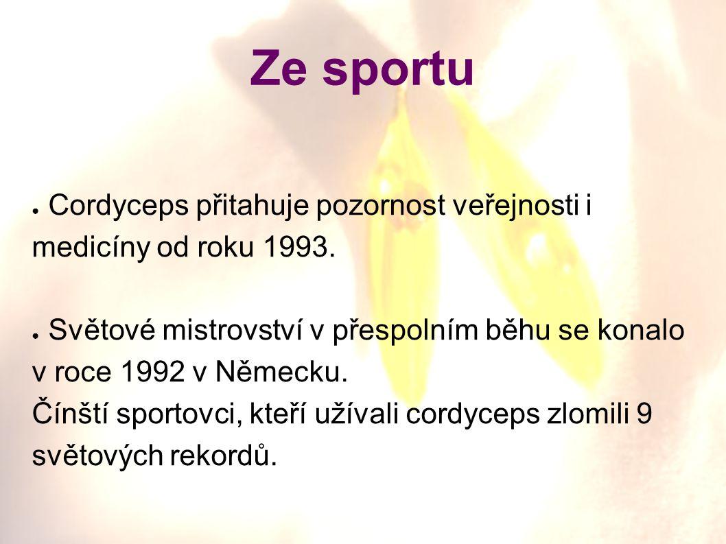 Ze sportu Cordyceps přitahuje pozornost veřejnosti i medicíny od roku 1993. Světové mistrovství v přespolním běhu se konalo v roce 1992 v Německu.
