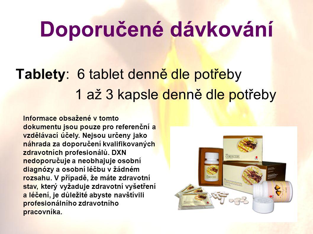Tablety: 6 tablet denně dle potřeby 1 až 3 kapsle denně dle potřeby