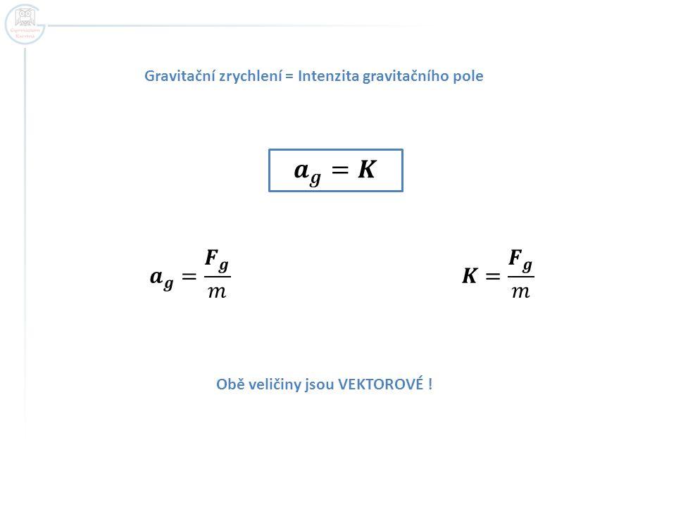 Gravitační zrychlení = Intenzita gravitačního pole
