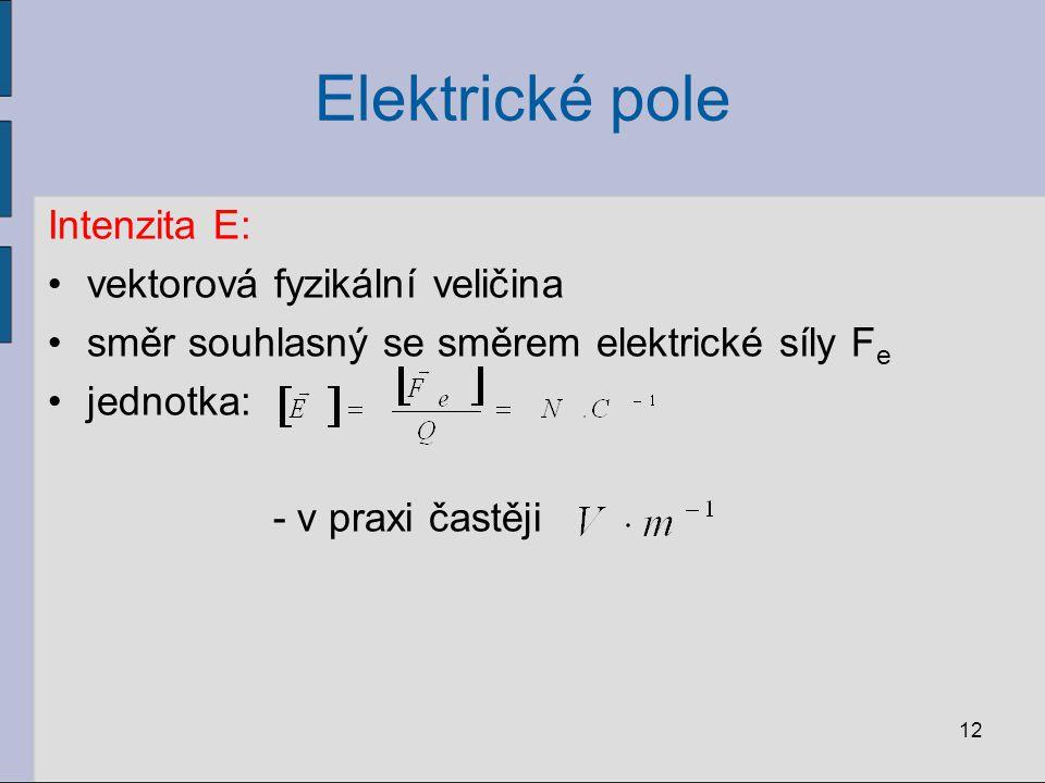Elektrické pole Intenzita E: vektorová fyzikální veličina