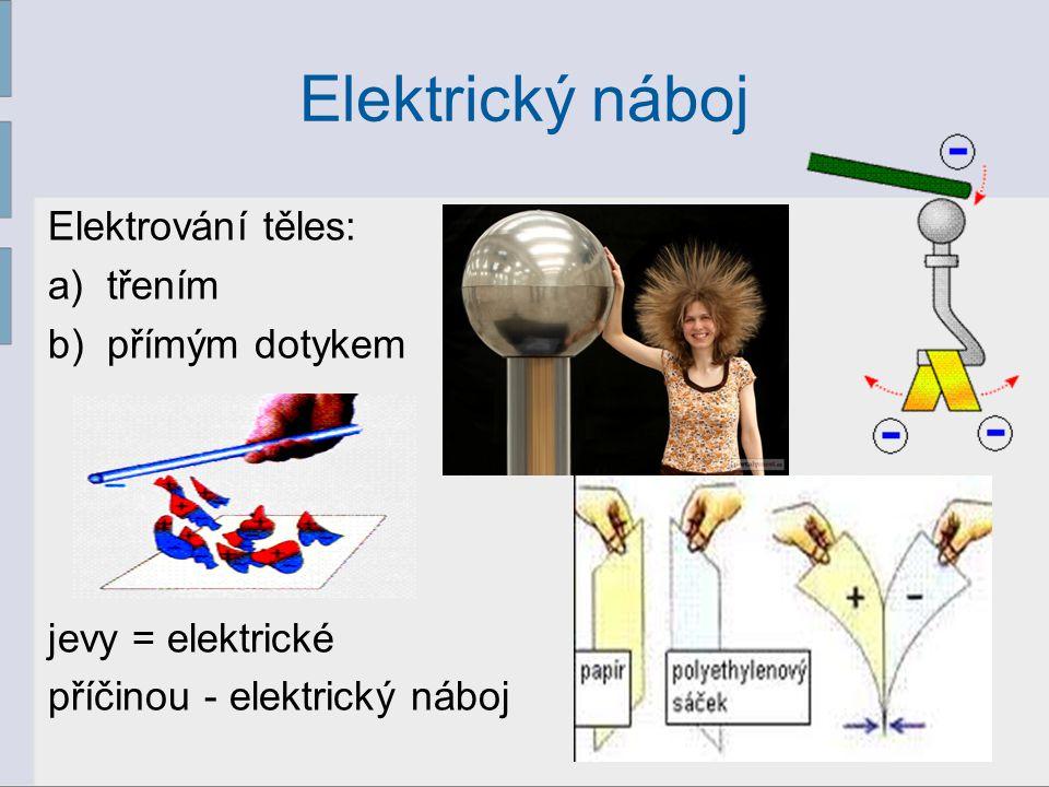 Elektrický náboj Elektrování těles: třením přímým dotykem