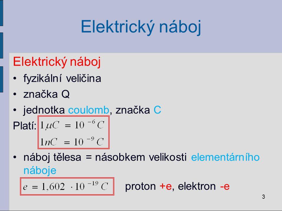 Elektrický náboj Elektrický náboj fyzikální veličina značka Q