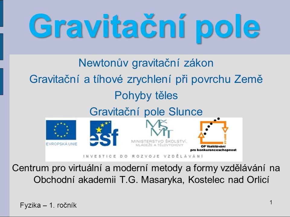 Gravitační pole Newtonův gravitační zákon