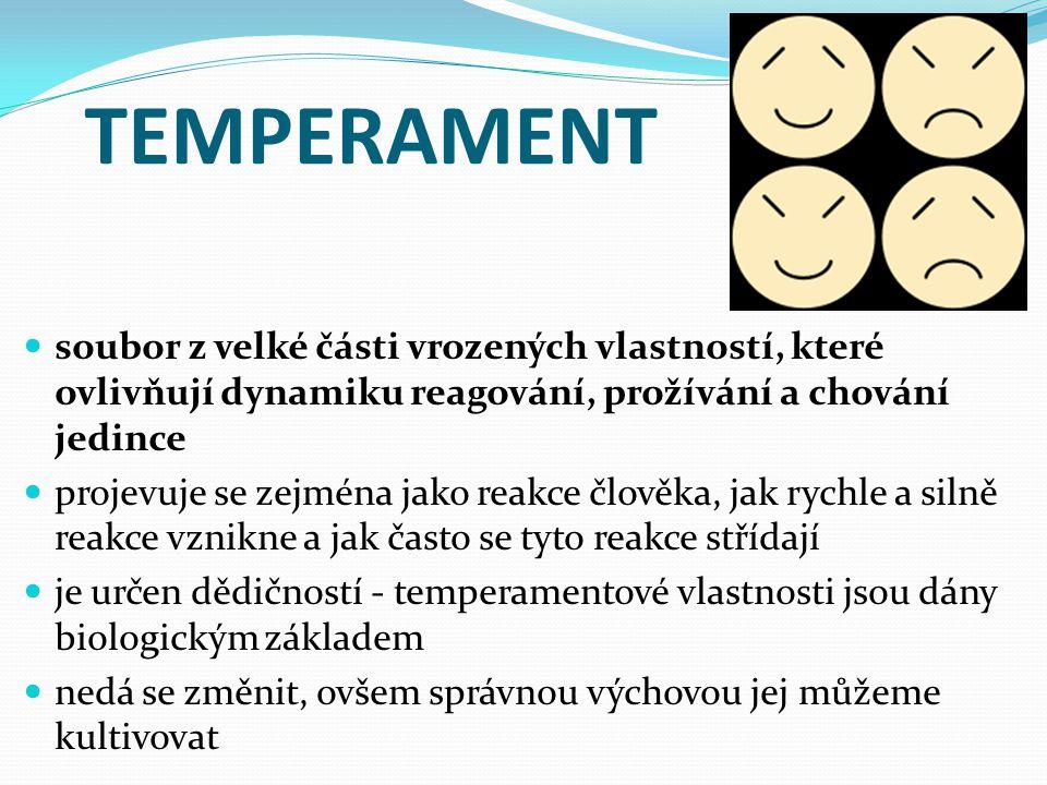 TEMPERAMENT soubor z velké části vrozených vlastností, které ovlivňují dynamiku reagování, prožívání a chování jedince.