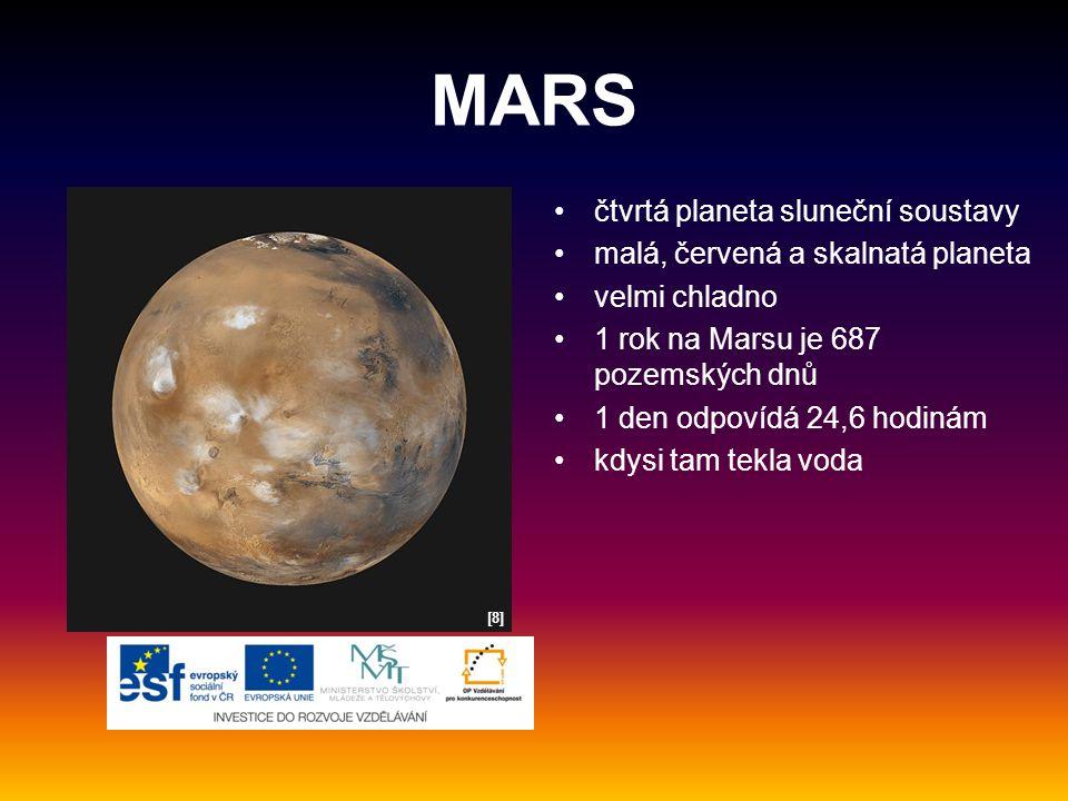 MARS čtvrtá planeta sluneční soustavy malá, červená a skalnatá planeta