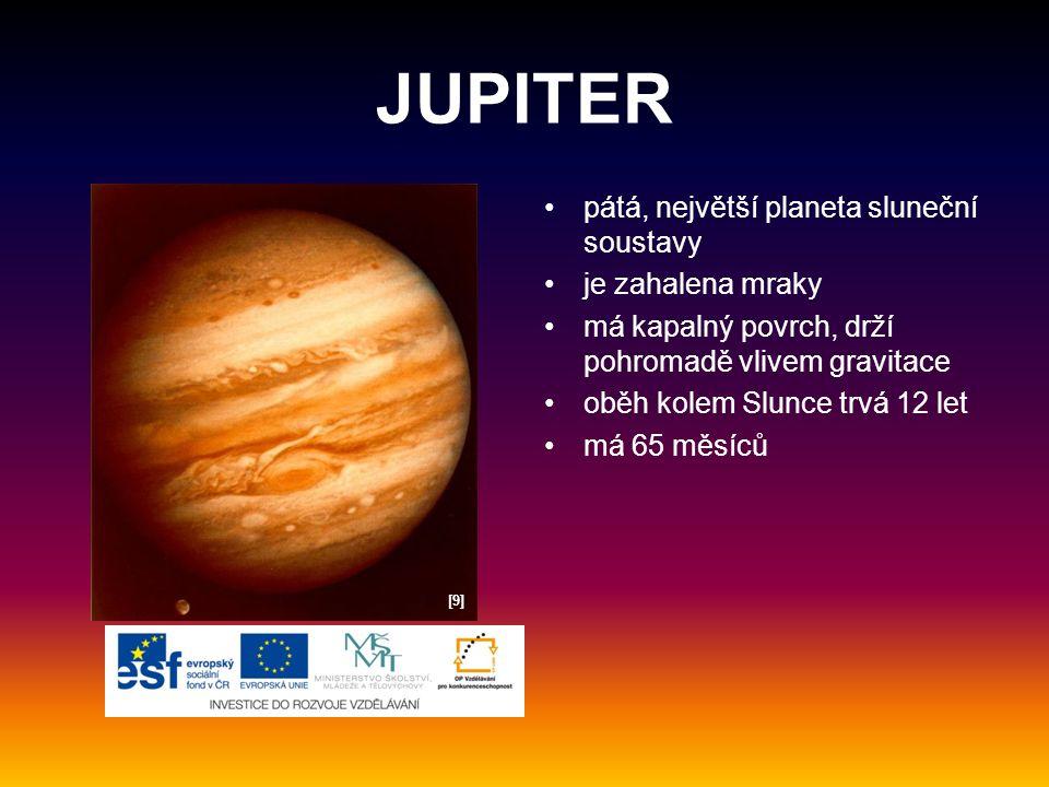 JUPITER pátá, největší planeta sluneční soustavy je zahalena mraky