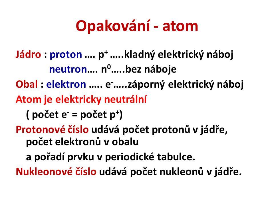 Opakování - atom