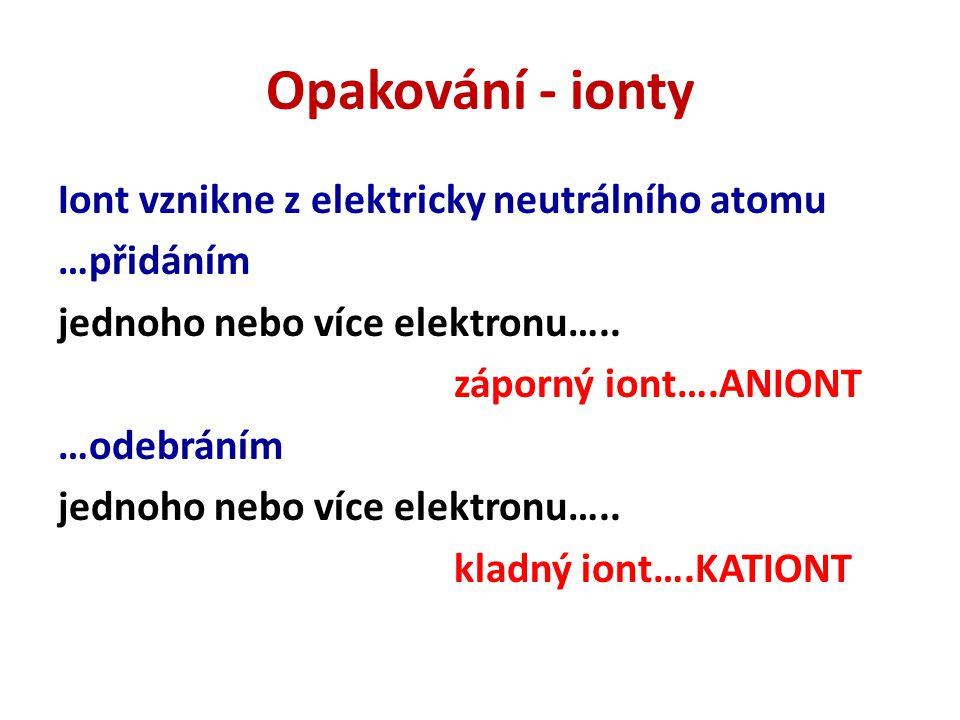 Opakování - ionty Iont vznikne z elektricky neutrálního atomu