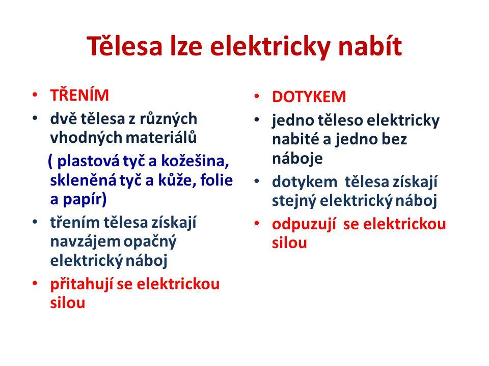 Tělesa lze elektricky nabít