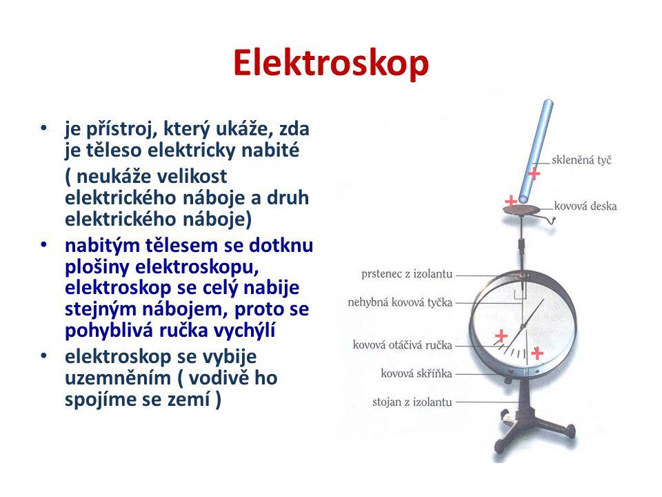 Elektroskop je přístroj, který ukáže, zda je těleso elektricky nabité