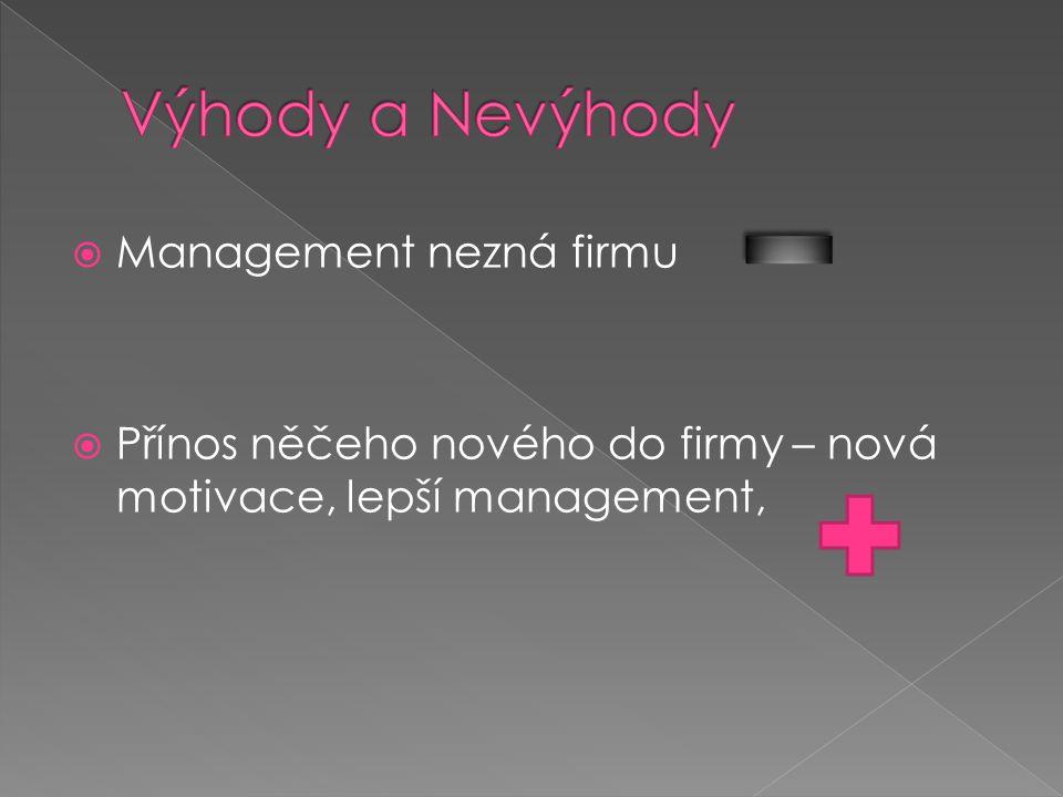 Výhody a Nevýhody Management nezná firmu