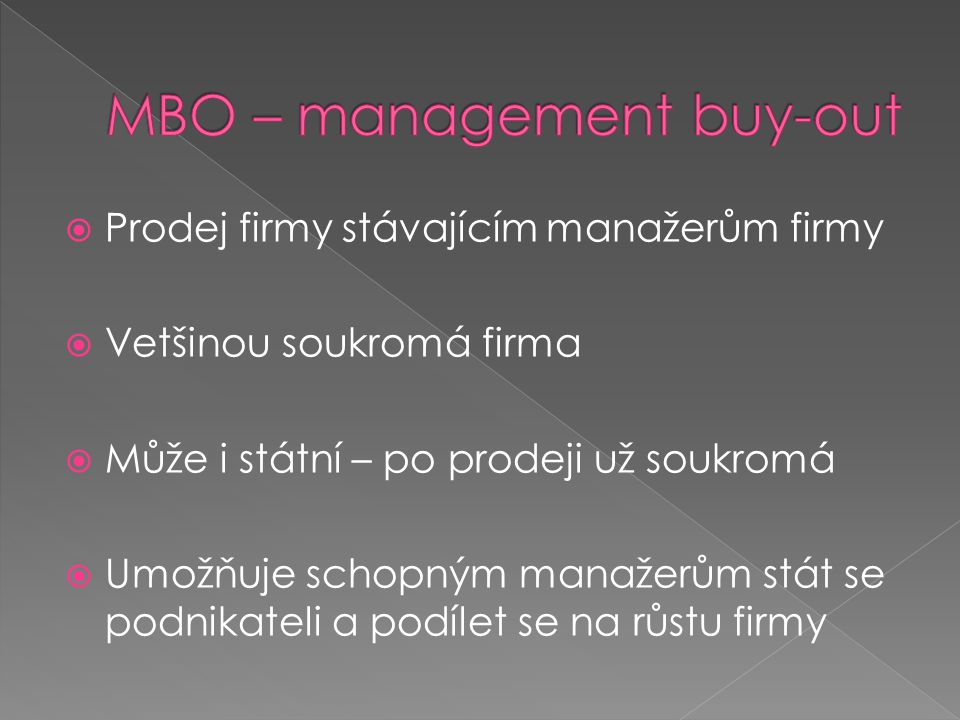 MBO – management buy-out