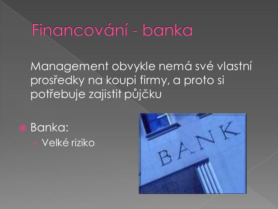 Financování - banka Management obvykle nemá své vlastní prosředky na koupi firmy, a proto si potřebuje zajistit půjčku.