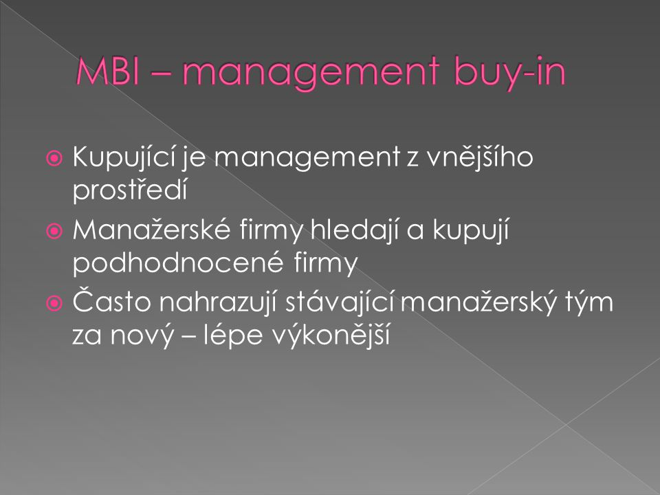MBI – management buy-in