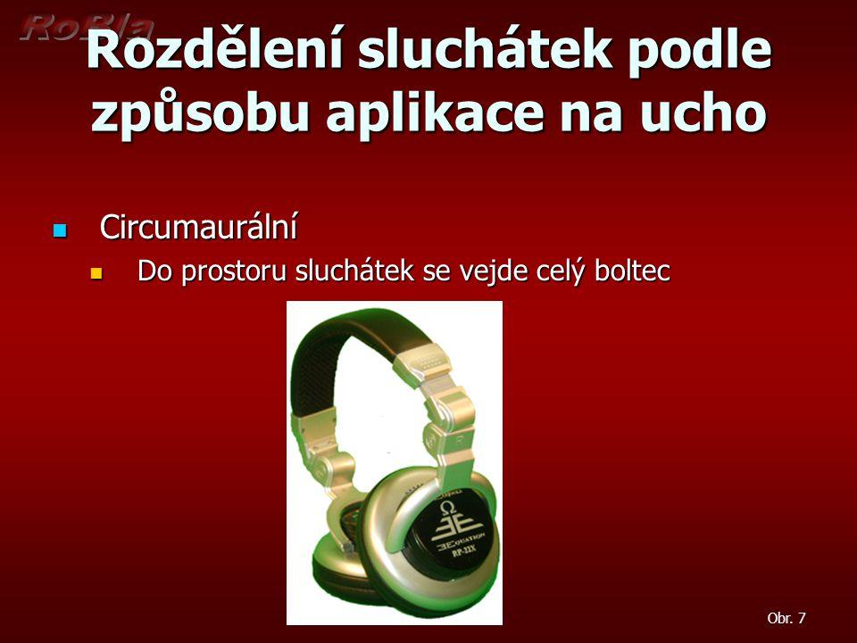 Rozdělení sluchátek podle způsobu aplikace na ucho