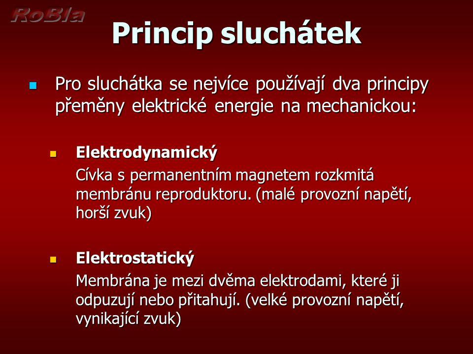 Princip sluchátek Pro sluchátka se nejvíce používají dva principy přeměny elektrické energie na mechanickou: