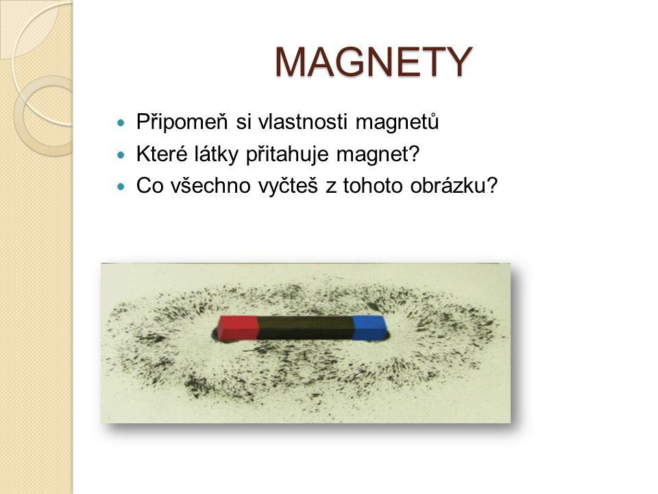 MAGNETY Připomeň si vlastnosti magnetů Které látky přitahuje magnet