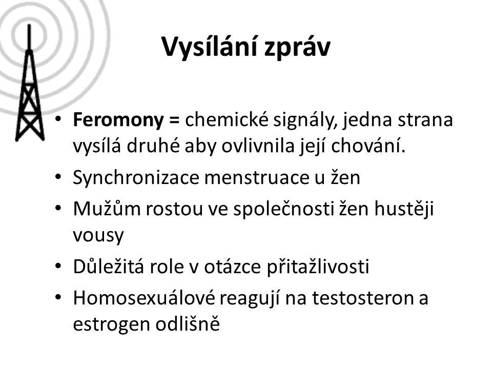 Vysílání zpráv Feromony = chemické signály, jedna strana vysílá druhé aby ovlivnila její chování. Synchronizace menstruace u žen.
