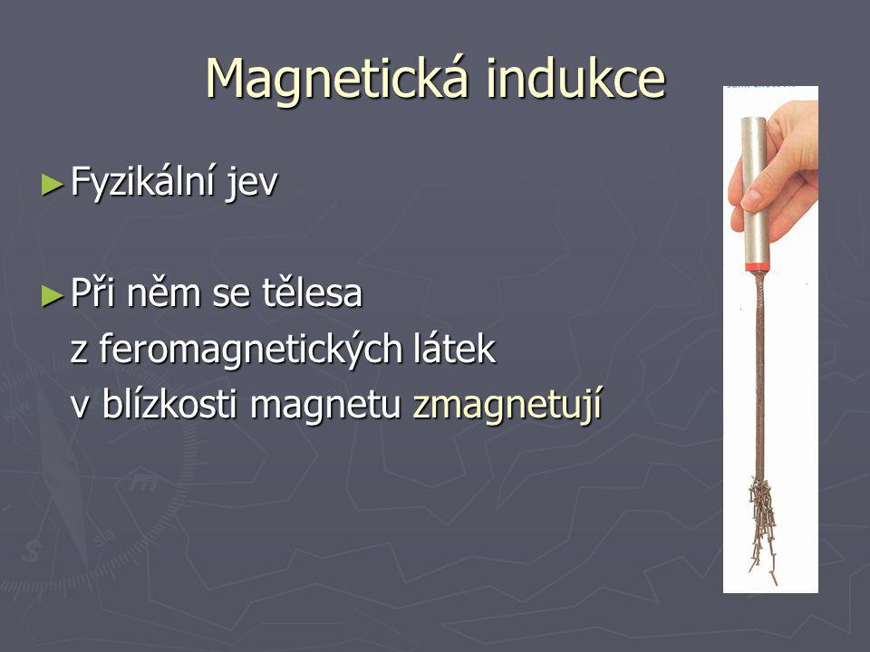 Magnetická indukce Fyzikální jev Při něm se tělesa