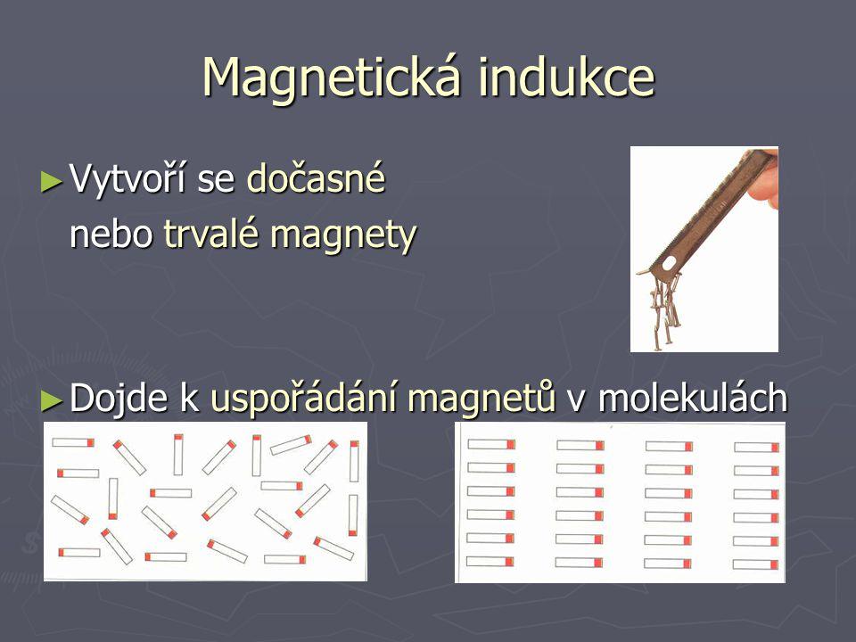 Magnetická indukce Vytvoří se dočasné nebo trvalé magnety