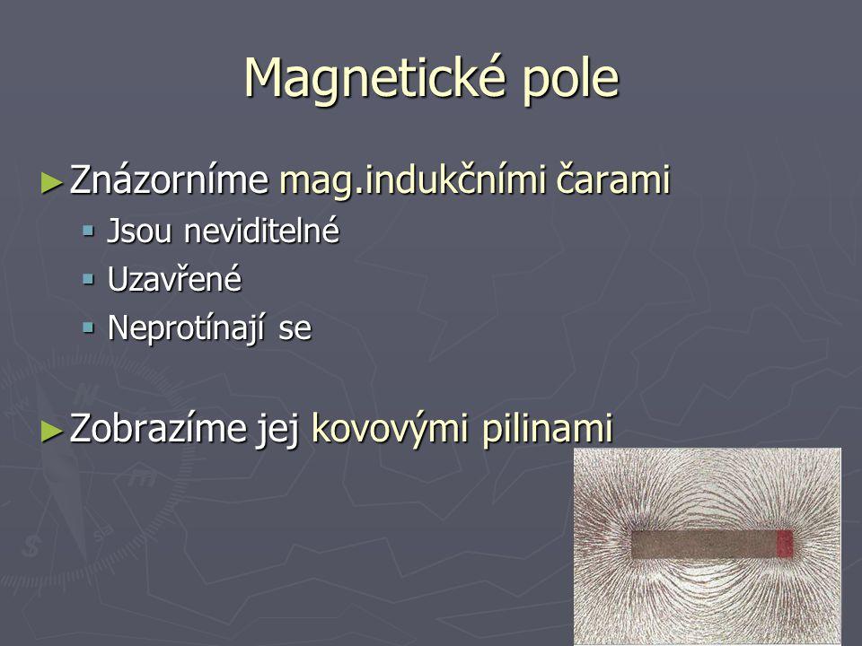 Magnetické pole Znázorníme mag.indukčními čarami
