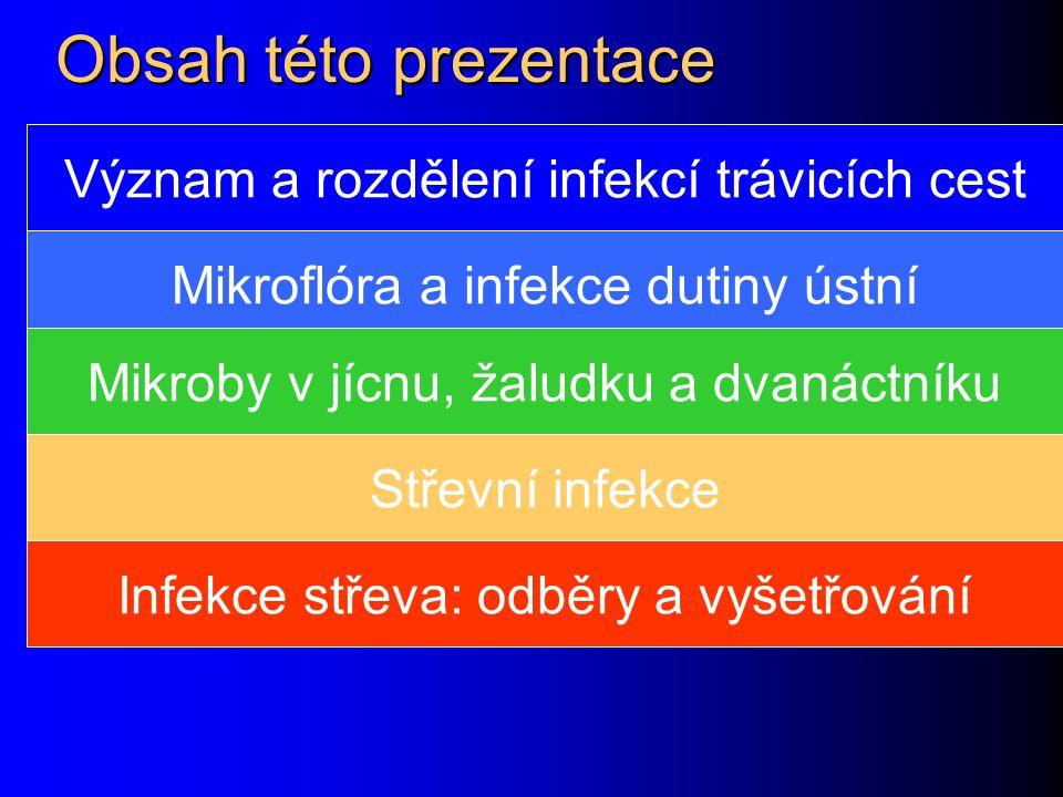 Obsah této prezentace Význam a rozdělení infekcí trávicích cest
