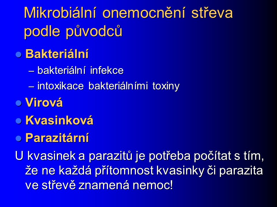 Mikrobiální onemocnění střeva podle původců