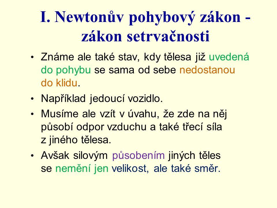 I. Newtonův pohybový zákon - zákon setrvačnosti