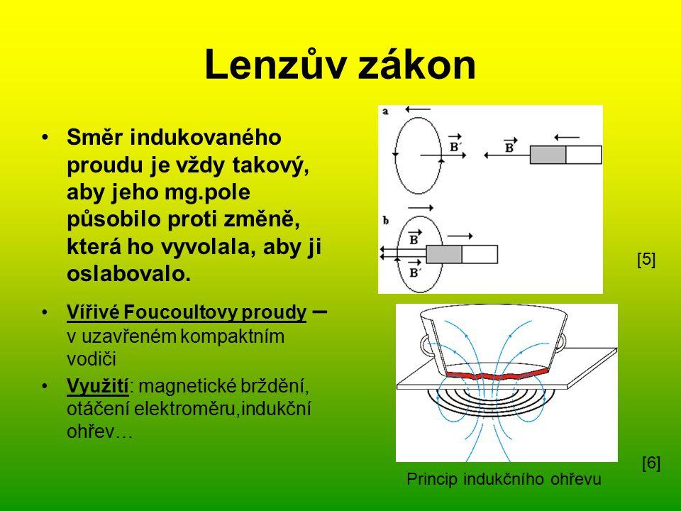 Lenzův zákon Směr indukovaného proudu je vždy takový, aby jeho mg.pole působilo proti změně, která ho vyvolala, aby ji oslabovalo.
