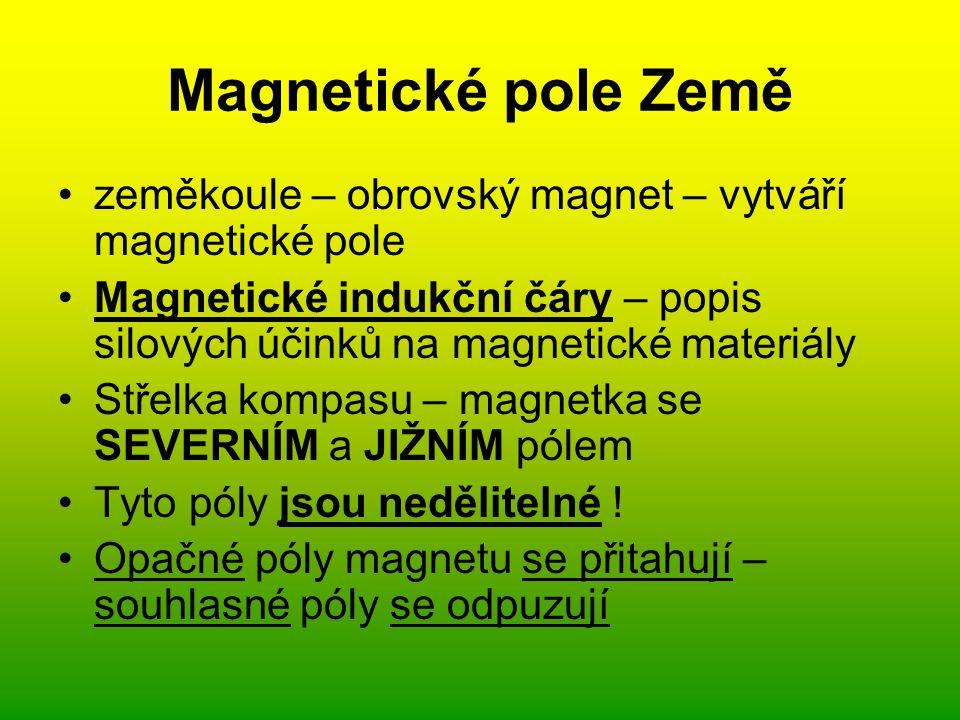 Magnetické pole Země zeměkoule – obrovský magnet – vytváří magnetické pole. Magnetické indukční čáry – popis silových účinků na magnetické materiály.