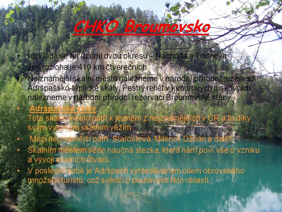 CHKO Broumovsko rozkládá se na území dvou okresů – Náchoda a Trutnova