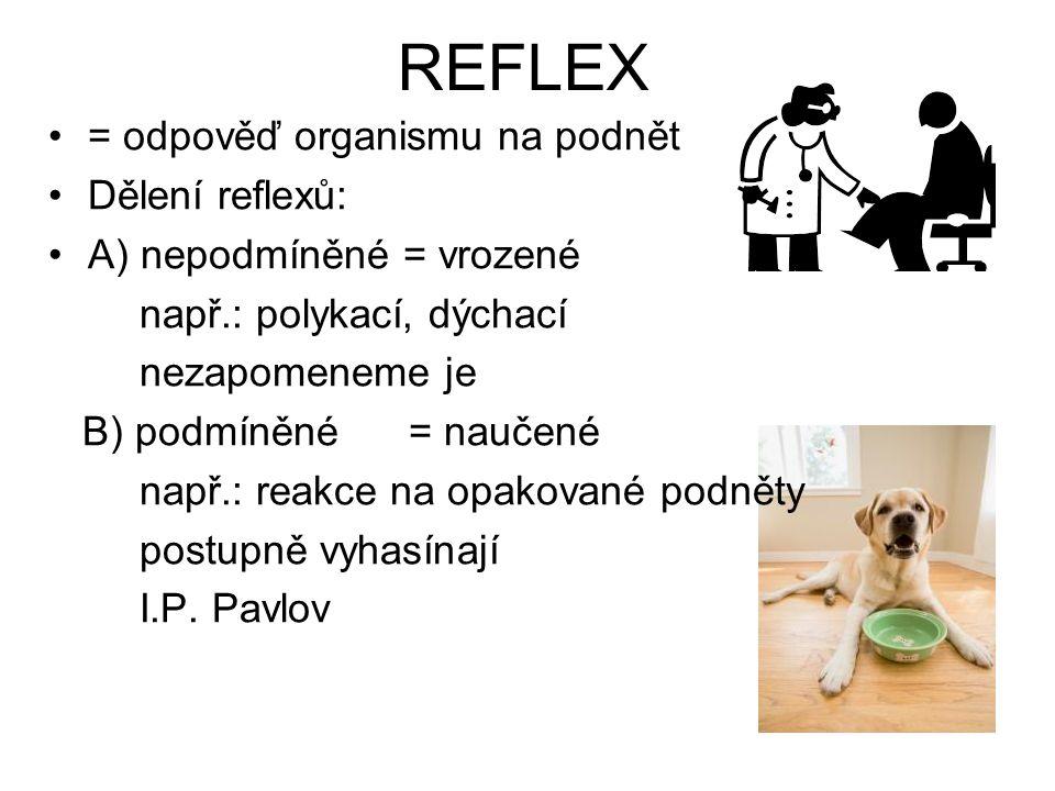 REFLEX = odpověď organismu na podnět Dělení reflexů: