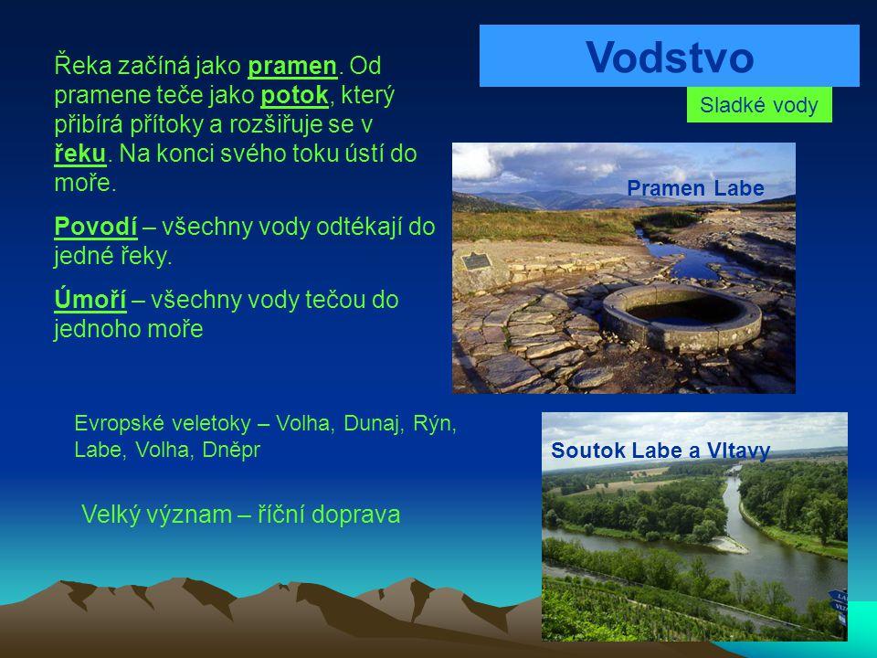 Vodstvo Řeka začíná jako pramen. Od pramene teče jako potok, který přibírá přítoky a rozšiřuje se v řeku. Na konci svého toku ústí do moře.