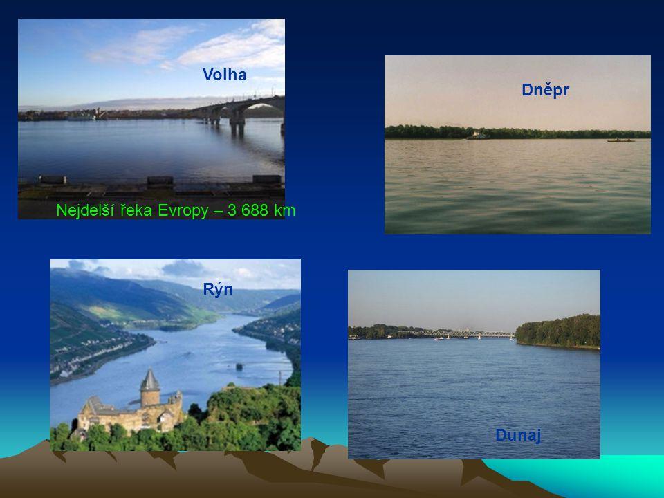 Volha Dněpr Nejdelší řeka Evropy – 3 688 km Rýn Dunaj