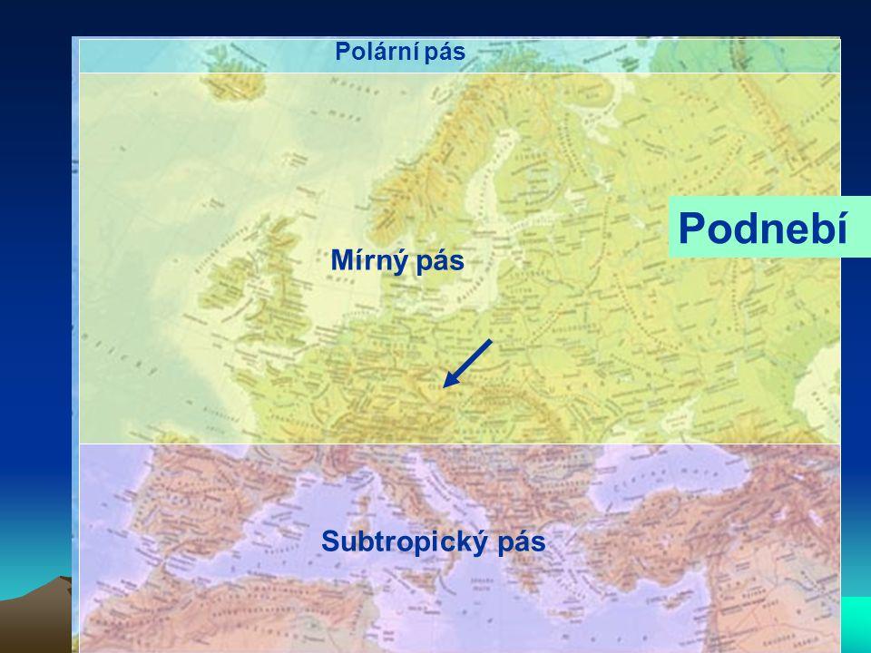 Polární pás Podnebí Mírný pás Subtropický pás