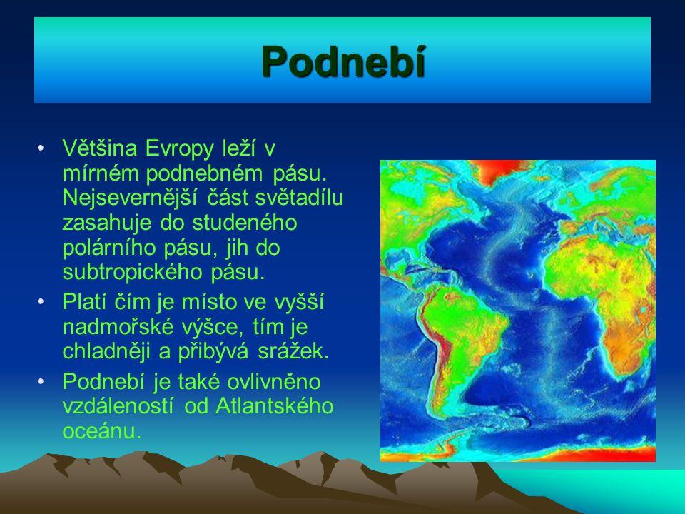 Podnebí Většina Evropy leží v mírném podnebném pásu. Nejsevernější část světadílu zasahuje do studeného polárního pásu, jih do subtropického pásu.