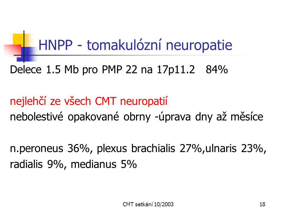 HNPP - tomakulózní neuropatie