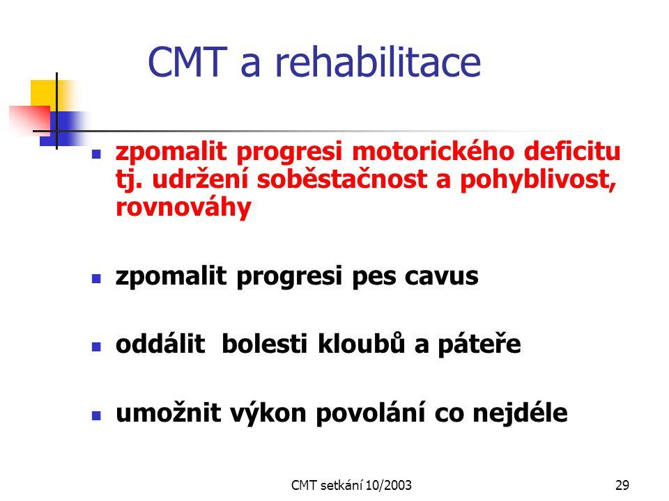 CMT a rehabilitace zpomalit progresi motorického deficitu tj. udržení soběstačnost a pohyblivost, rovnováhy.