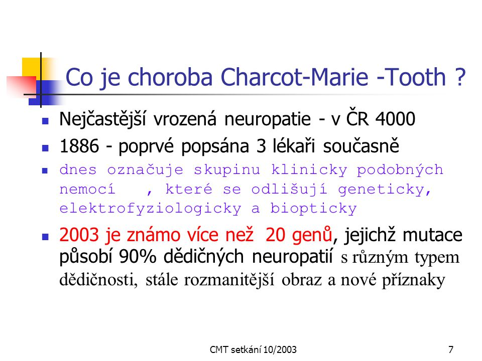 Co je choroba Charcot-Marie -Tooth