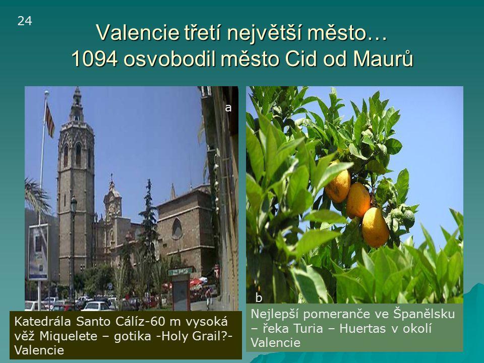 Valencie třetí největší město… 1094 osvobodil město Cid od Maurů