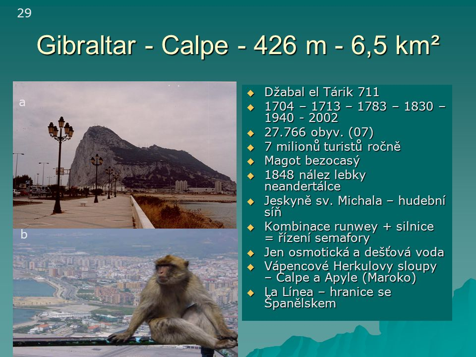 Gibraltar - Calpe - 426 m - 6,5 km²