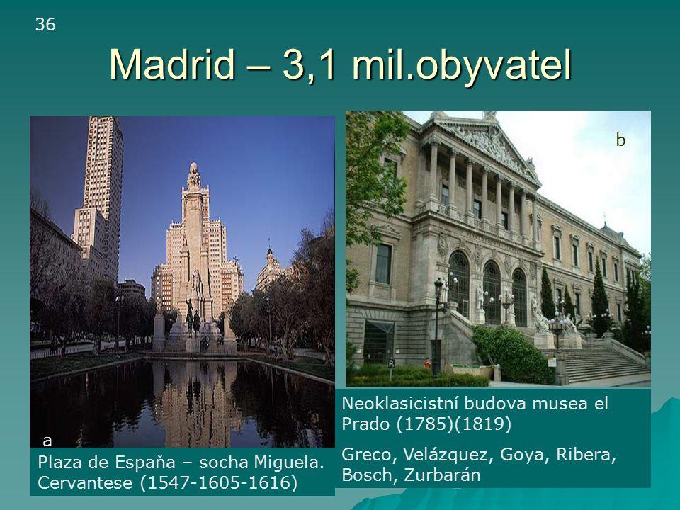 36 Madrid – 3,1 mil.obyvatel. b. Neoklasicistní budova musea el Prado (1785)(1819) Greco, Velázquez, Goya, Ribera, Bosch, Zurbarán.