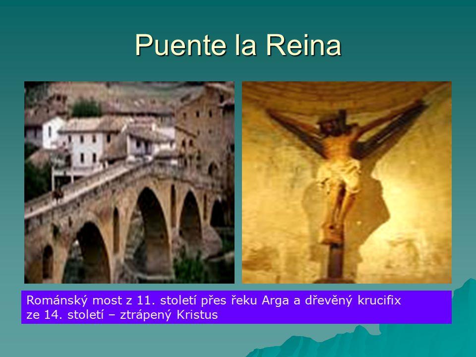 Puente la Reina Románský most z 11. století přes řeku Arga a dřevěný krucifix ze 14.