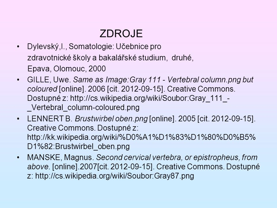 ZDROJE Dylevský,I., Somatologie: Učebnice pro