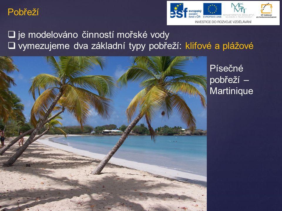 Pobřeží je modelováno činností mořské vody. vymezujeme dva základní typy pobřeží: klifové a plážové.