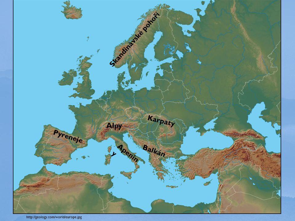 Skandinávské pohoří Karpaty Alpy Pyreneje Apeniny Balkán