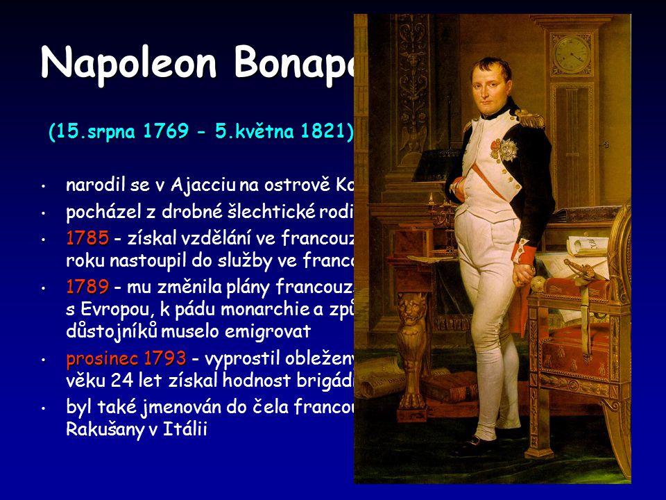 Napoleon Bonaparte (15.srpna 1769 - 5.května 1821)