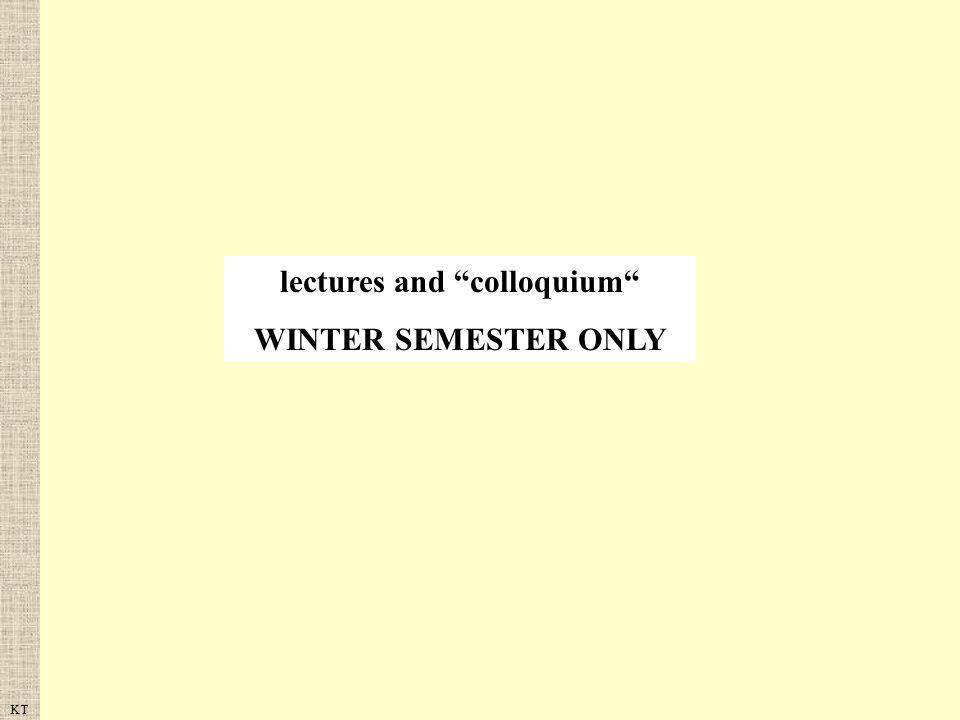 lectures and colloquium